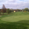 A fall day view of a hole at Elms Country Club.