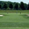 A view of a hole flanked by sand traps at Shawnee Hills Golf Course