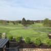 View of the puttin green from the clubhouse terrace at Legend Lake Golf Club