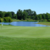 A view of green #9 with water coming into play at The Sanctuary Golf Club.