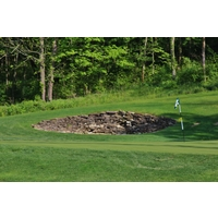 This rock-faced bunker frames the 15th hole at Elks Run Golf Club in Batavia, Ohio.